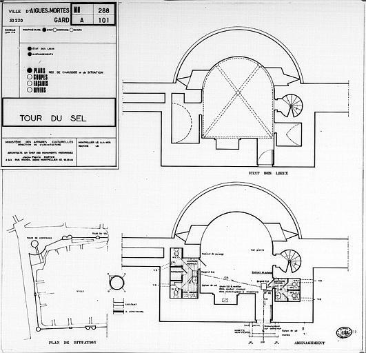 Plans du rez-de-chaussée (état des lieux et aménagement), plan de situation