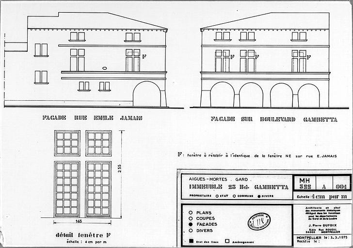 Elévations des façades et détail de fenêtre