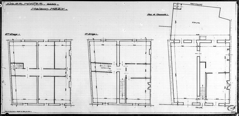 Plans du rez-de-chaussée, du 1er et du 2e étage