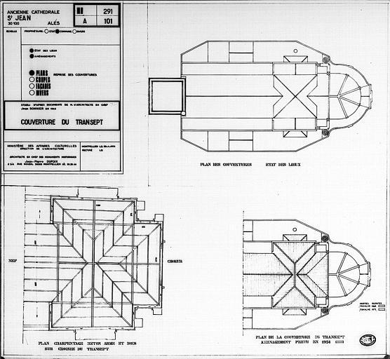 Couverture du transept : Plan des ouvertures (état des lieux), plan du charpentage sur la croisée, plan de la couverture (aménagement prévu en 1974)