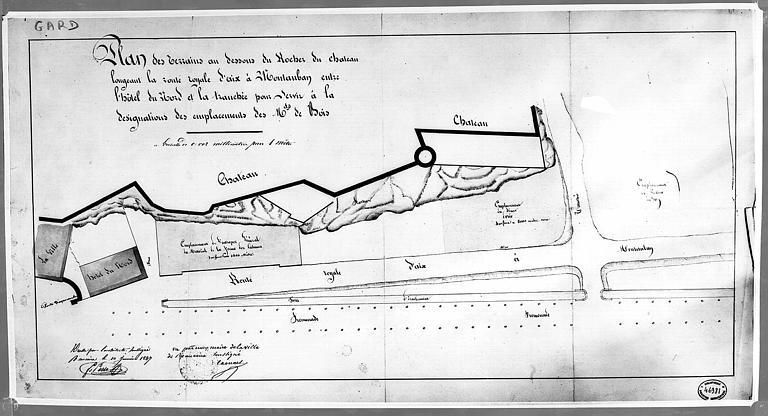 Plan des terrains au-dessous du rocher