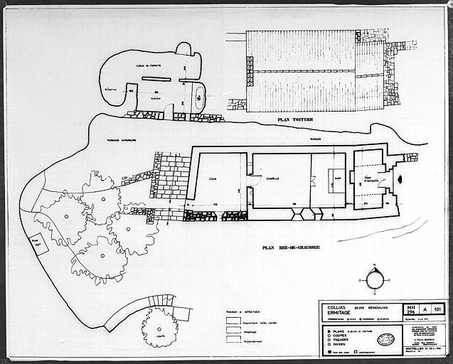 Plans de la chapelle au rez-de-chaussée et plan de la toiture