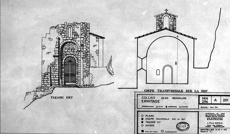 Elévation de la façade est et coupe transversale sur la nef