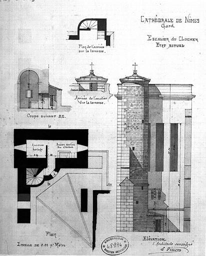 Plan, coupe et élévation de l'escalier du clocher (état actuel)