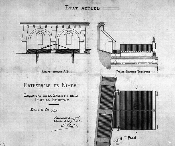 Couverture de la sacristie de la chapelle épiscopale : Plan, coupe, élévation (état actuel)