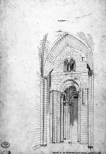 Dessin : Vue perspective du carré du transept vu du côté de la nef