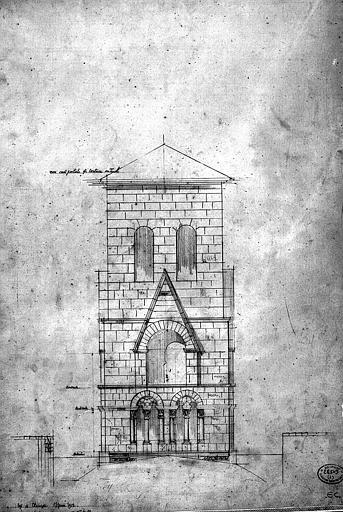 Elévation de la face ouest du clocher