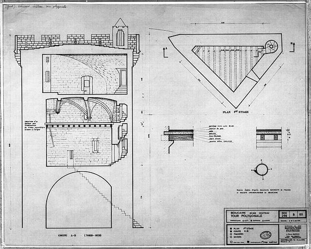 Plan et coupe de la tour polygonale