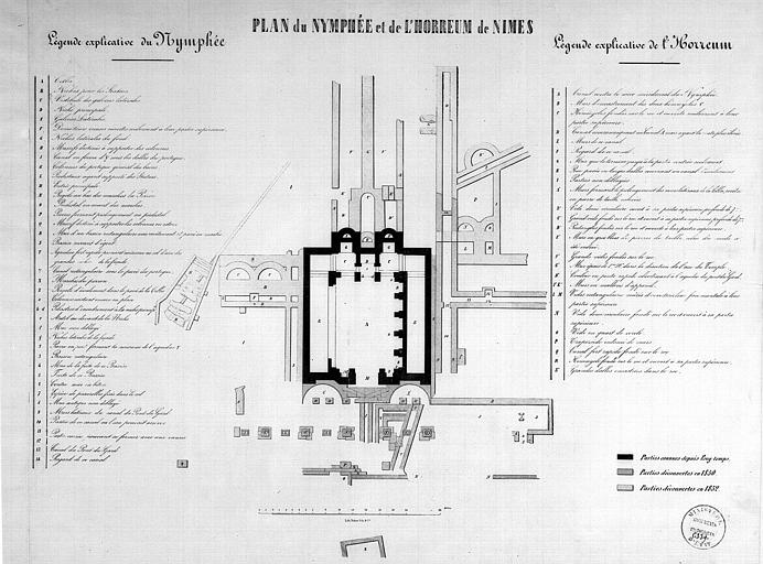 Plan du nymphée et de l'horreum avec l'indication des parties découvertes en 1830 et en 1852