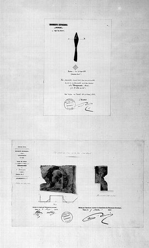 Etat actuel de l'arc de la face sud-ouest (attachement n°2. Croquis d'un fer d'arbalète trouvé fiché dans une intersection de moellons sur la face sud-est)