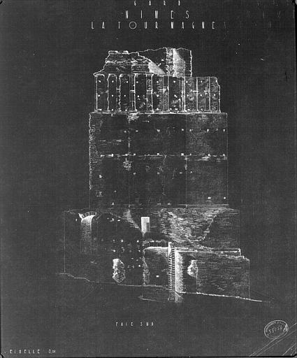 Elévation de la façade sud de la tour