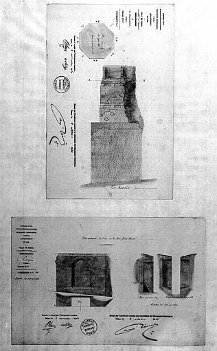 Plan et élévation de la face nord-est (1), dessin de l'arc restauré de la face sud-ouest et détail de coupes (2)