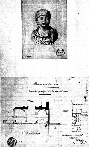 Plan et coupe du mur de l'enceinte extérieure, et croquis d'un buste antique par S. Huard