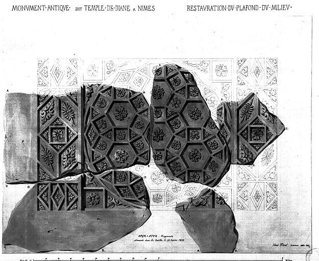 Relevé des fragments découverts le 20 février 1852 lors de la restauration du plafond du milieu