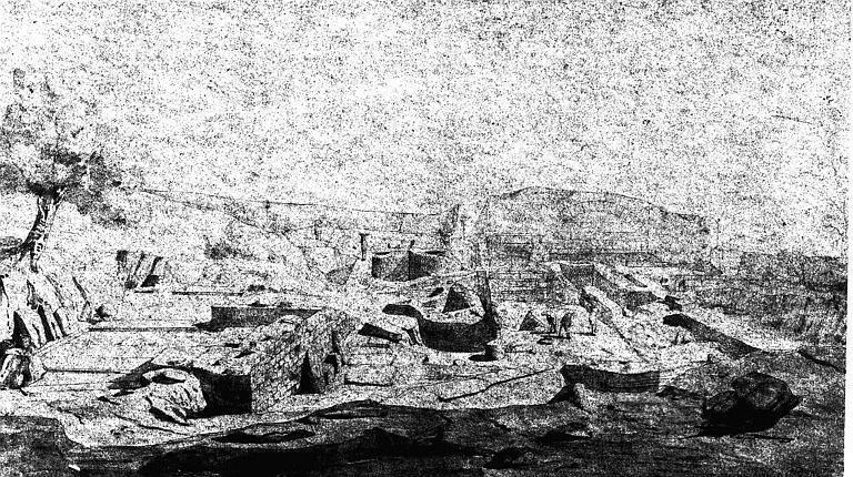 Vue perspective des fouilles pratiquées vers la partie postérieure