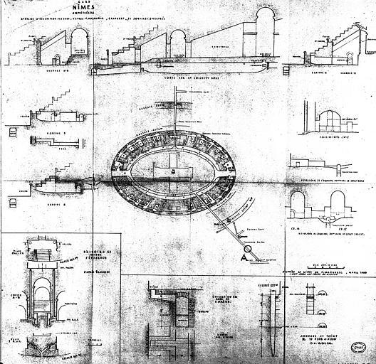 Consolidation des linteaux de la galerie du 1e étage : Plan et coupes