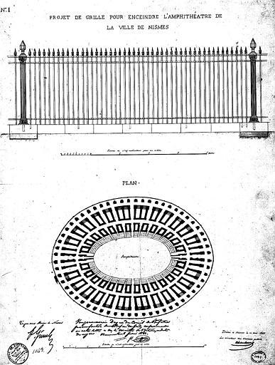 Projet de grille pour enceindre l'amphithéâtre de la ville de Nîmes
