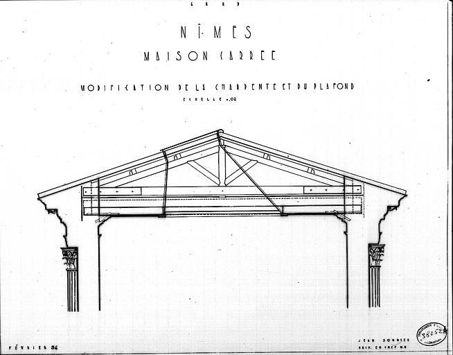 Modification de la charpente et du plafond : Coupe