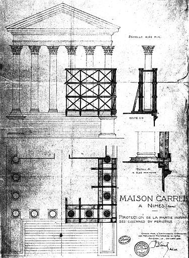 Protection de la partie inférieure des colonnes du péristyle : Plan et élévations