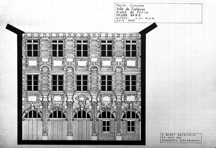Elévation de la façade nord sur la cour intérieure