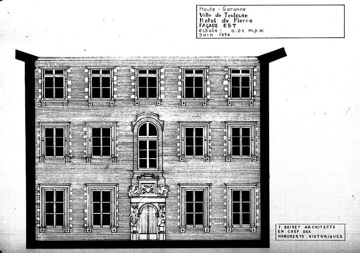 Elévation de la façade est sur la cour intérieure