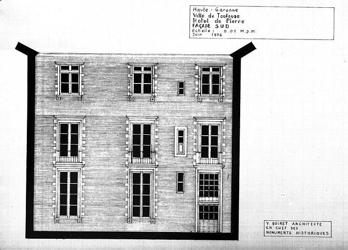 Elévation de la façade sud sur la cour intérieure