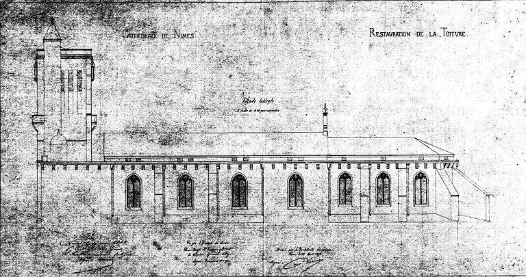 Restauration de la toiture : Elévation de la façade latérale