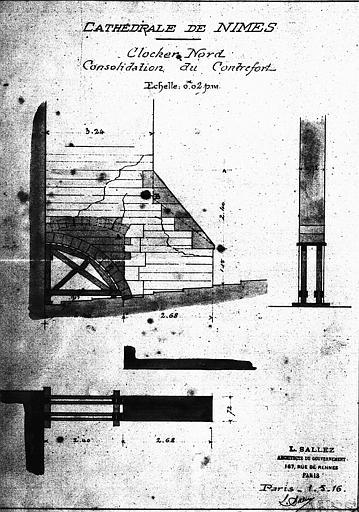 Consolidation du contrefort du clocher nord : Coupe, plan, élévation