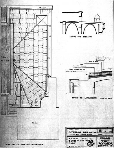 Plan et coupe sur la terrasse occidentale, détail de l'étanchéité