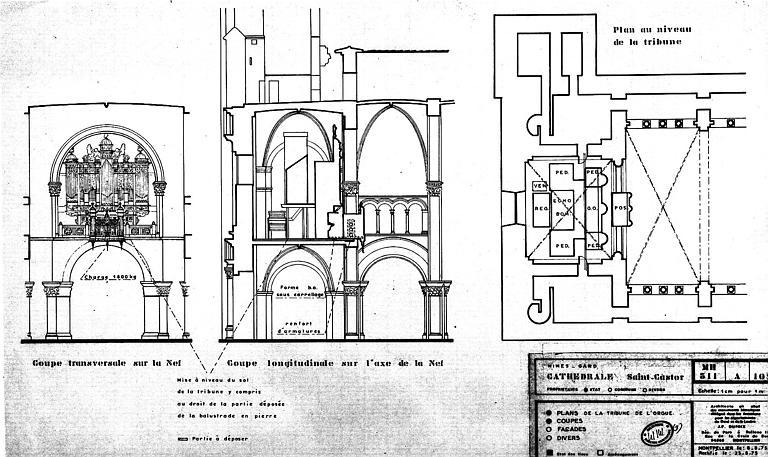 Plan au niveau de la tribune, coupe transversale sur la nef et coupe longitudinale sur l'axe de la nef