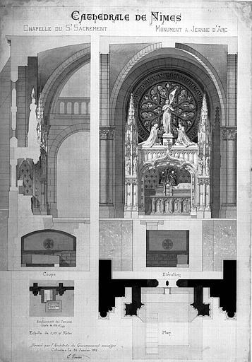 Plan, coupe et élévation de la chapelle du Saint-Sacrement et projet de monument à Jeanne d'Arc