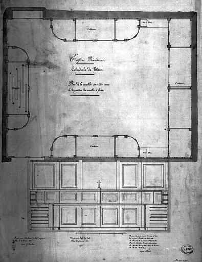 Plan de la seconde sacristie avec la disposition des meubles
