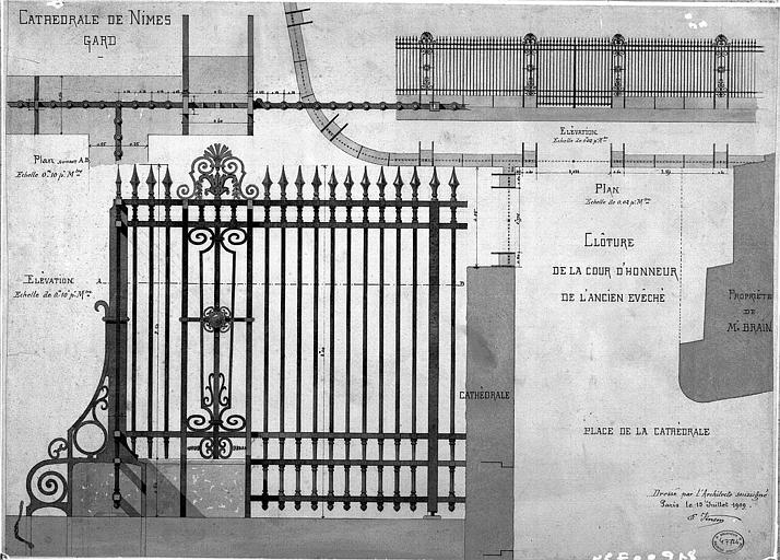 Clôture de la cour d'honneur de l'ancien évêché : Plan et élévation