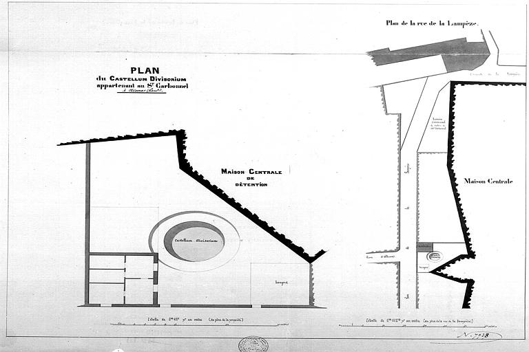 Plans de la maison centrale de détention et des abords