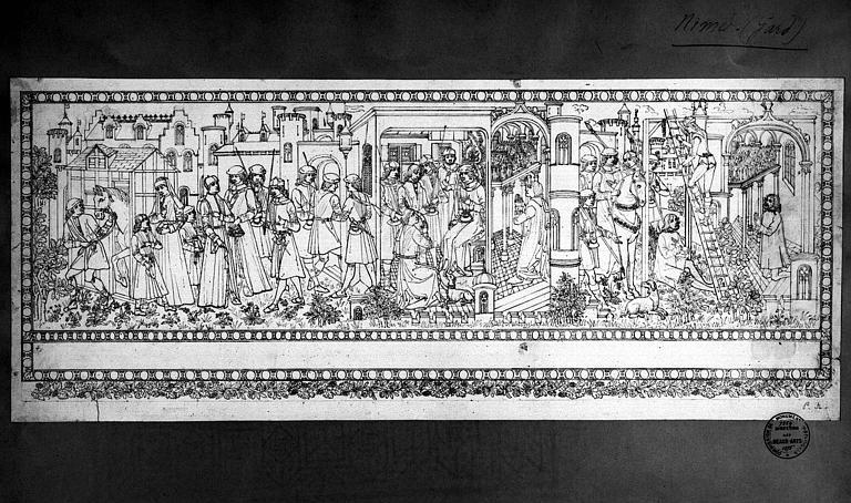 Relevé de la tapisserie d'Arras : Vie de saint Quentin