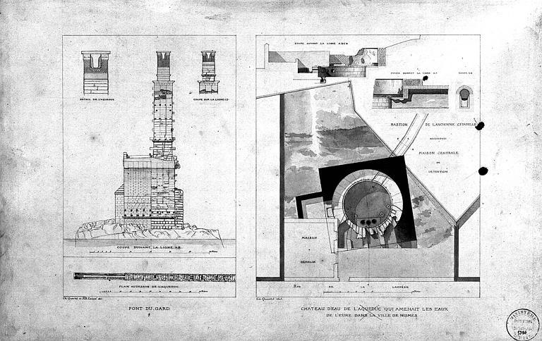 Coupe transversale de l'aqueduc, plans et coupes du château d'eau