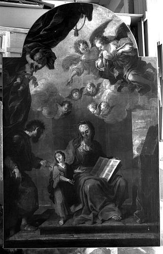Peinture sur toile (à gauche du maître-autel) : L'Education de la Vierge, saint Joachim et sainte Anne