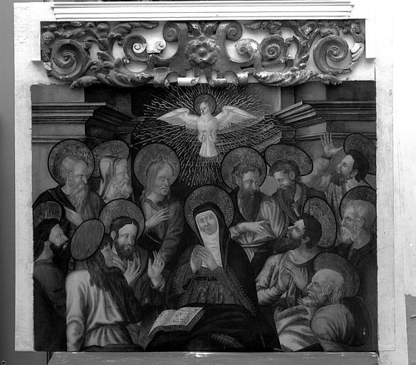 Panneau peint du retable de la Vierge : La Pentecôte