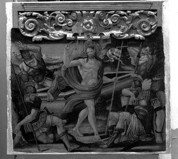 Panneau peint du retable de la Vierge : La Résurrection