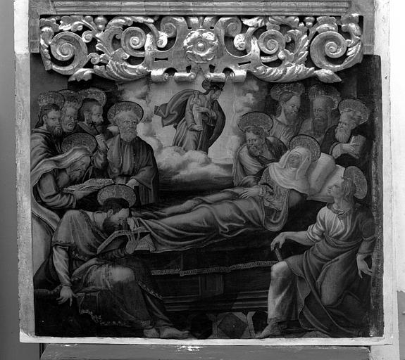 Panneau peint du retable de la Vierge : La mort de la Vierge