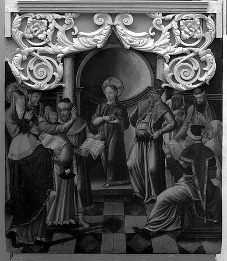 Panneau peint du retable de la Vierge : Jésus au milieu des docteurs