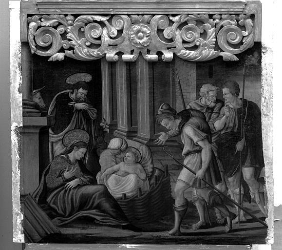 Panneau peint du retable de la Vierge : L'Adoration des Bergers