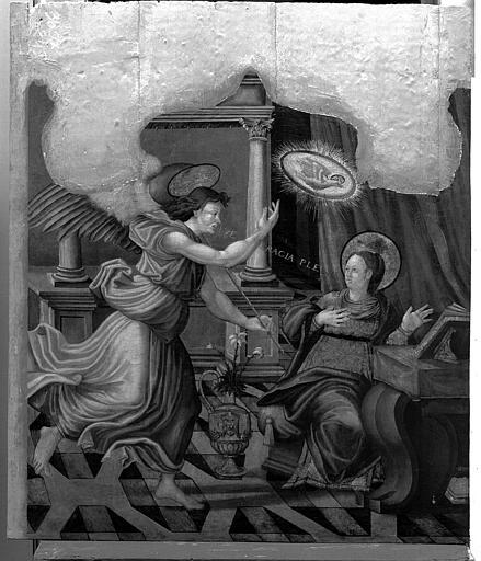 Panneau peint du retable de la Vierge : L'Annonciation