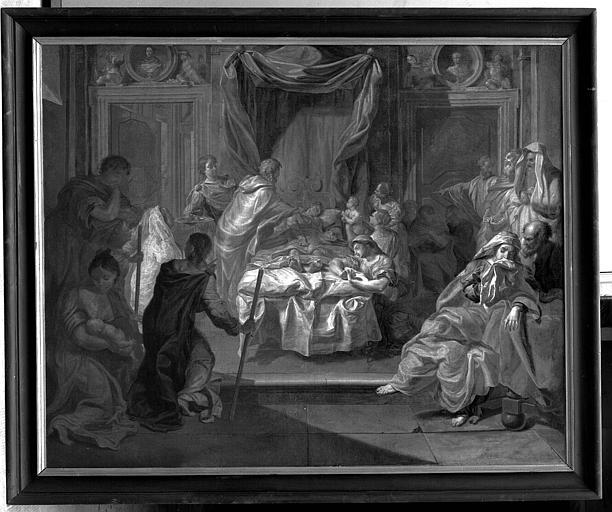Peinture sur toile : L'extrême onction, après restauration
