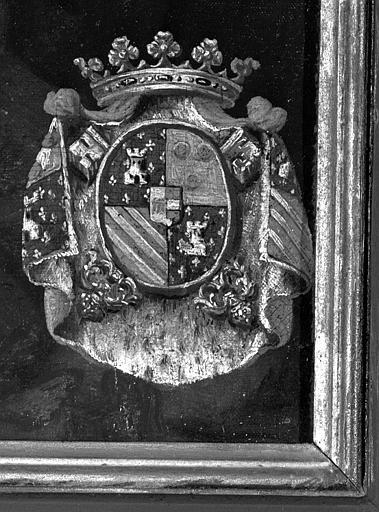 Peinture sur toile : Les armes de Bouillon (détail du Baptême du Christ)