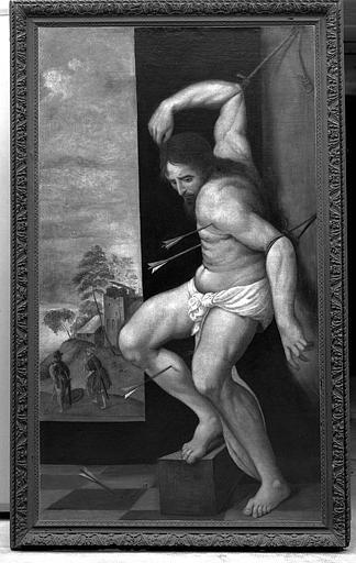 Peinture sur toile avec cadre de bois sculpté : Le martyre de saint Sébastien