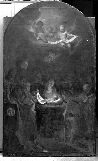 Peinture sur toile (de l'autel latéral gauche aux armes de Lacoré) : Adoration des Bergers
