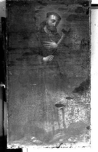 Peinture sur toile : Saint Franciscain portant la croix et une palme