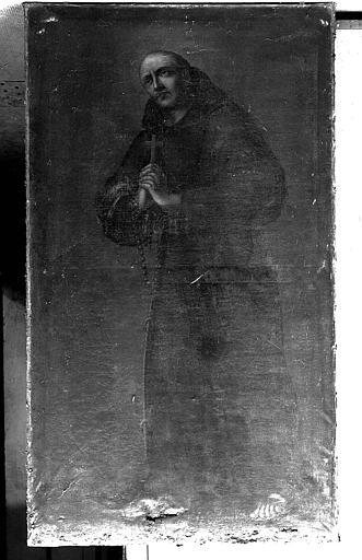 Peinture sur toile : Saint Franciscain portant la croix et le chapelet