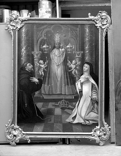 Peinture sur toile dans un cadre en bois sculpté : Notre-Dame des Ermites avec saint François et sainte Elizabeth